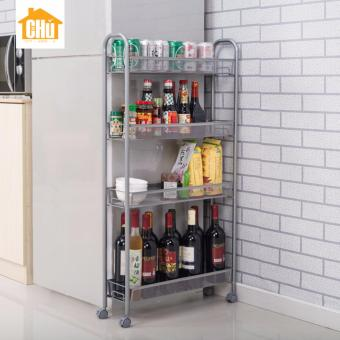 Harga 4 Tier Basket Storage Skinny Trolley (White)