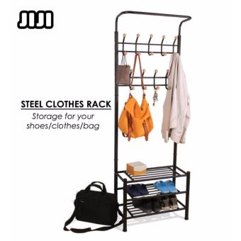 Harga JIJI Standing Coat/ Clothes & Hat Rack: Steely Clothes Rack With Shoe Rack