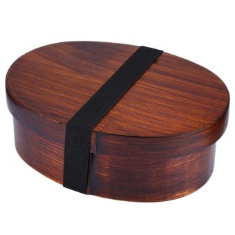 Harga Japanese Style Wooden Bento Box Lunch-box with Internal Separator (BROWN)