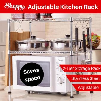 Harga Shoppy 2 level Adjustable stainless steel Kitchen Storage Rack (Chrome)