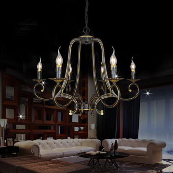 Harga Shifan Pendant Lights (Warm Light) Six Heads Iron Bend Chandelier A28 European Simple Retro Living Room Bedroom Chandeliers With E14 Light Blub