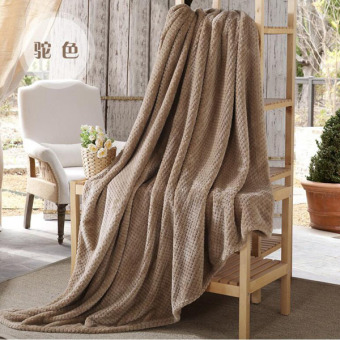 Harga Soft Double Throw Blankets Durable Sofa/air/bedding /travel Flannel Throw Blanket Soft Bedsheet Warm Air Conditioning Cobertor ( Camel )200X230cm