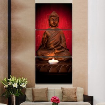 Harga 3 Piece Canvas Art Modern Printed Buddha Painting Picture Decoracion Buddha Paintings Wall Canvas Pictures For Living Room( No Frame)