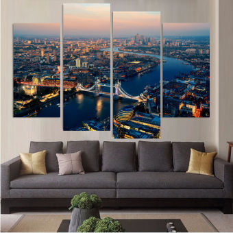 Harga No Frame 4 Piece Modern Wall Oil Painting London Night Landscape Home Decorative Art Picture Paint on Canvas Pictures Unframed - Intl