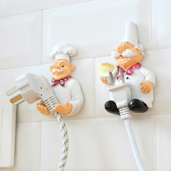 Harga Cartoon strong adhesive hook hook creative chef plug power cord storage rack finishing stand plug