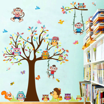 Harga Cartoon tree house removable wall stickers children's room decoration wall sticker living room bedroom background wall stickers