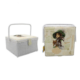 Harga 100% Handmade Vintage Super Big Capacity Sewing Basket with 107 Pcs Sewing Kit Accessories