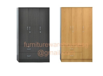 Harga 3 Door Wardrobe Cabinet (Walnut)