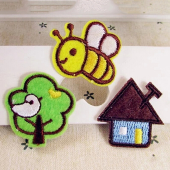 Harga 3Pcs Embroidered Cloth Iron On Patch Sew Motif Applique Bee Tree House Cute
