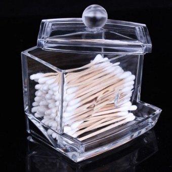Fashion Top Acrylic Storage Box Crystal Storage Boxes Transparent Acrylic Cotton Swab Box Cosmetic Cotton - intl - 2
