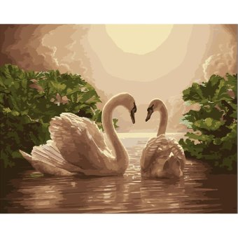 Harga DIY Oil Painting Paint By Numbers Digital Hand-painted Living Room Office Decor Painting 2 Swans (Frameless),Size:50x40cm