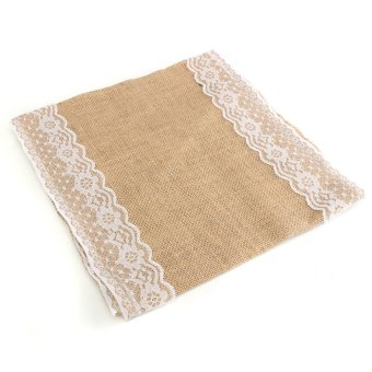 180x30cm Burlap Jute Hessian 2Lace Vintage Table Runner Wedding Party Decor Xmas