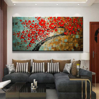 Harga Entrance decorative painting horizontal version of the living room sofa background paintings frameless painting three-dimensional fortune tree