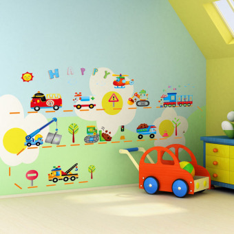 Harga Bedroom removable wall stickers cartoon children's room baby nursery wall decor wall stickers wallpaper cartoon car
