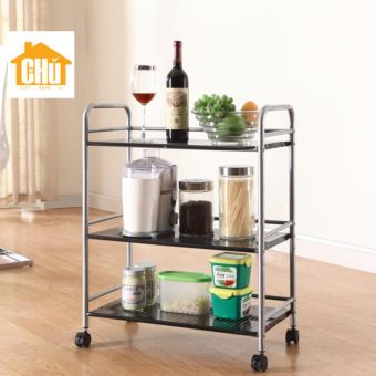 Harga 3 Tier Flat Storage Kitchen Trolley (60cm Width)(Silver)