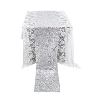 275X30CM Sequin Table Runner Cloth Sparkly Wedding Party Decor(Silver) - intl