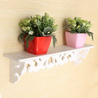 "Harga ""HDL White Wooden Wall Shelf Display Hanging Rack Storage Goods"