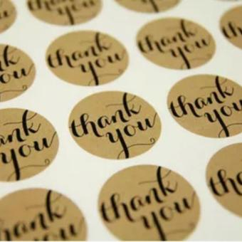 "120pcs ""Thank You"" Craft Packaging Seals Kraft Sticker Labels Sealing Topper(Black) - intl"