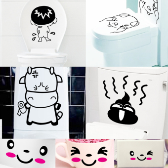Harga 7 piece cute smiley toilet stickers bathroom waterproof toilet stickers decoration sticker creative removable wall stickers