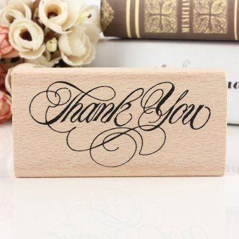 Harga Classic Vintage Thank You Wooden Rubber Stamp Craft Wedding Party 8x4x2cm - intl