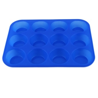 Harga Beau 12-Cavity Muffin Cup Silicone Cookies Cupcake Bakeware Pan Soap Tray Mould - intl