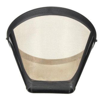 Harga Reusable Coffee Filter Permanent Cone-Style Coffee Maker Machine Filter Gold Mesh With Handle Cafe Coffees Tool - intl