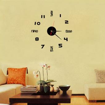 DIY Acrylic Crystal stereoscopic wall clock TV wall sticker Home Decoration - 2