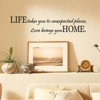 Harga Hequ Life Takes You Unexpected Places Love Brings You HOME Saying Quote Home Decor Art Removable Vinyl Wall Sticker