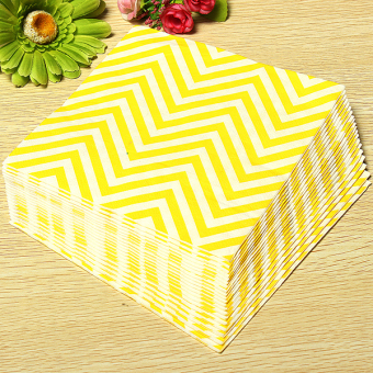 13'' Paper Napkins Wave Tableware Wedding Dinner Birthday Dinner Xmas Party Yellow White Waves - Intl - 2
