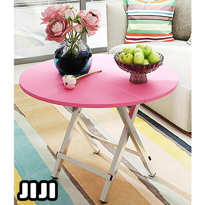 JIJI 80Cm Kimberly Dining Table Round Design /  Foldable Folding / Foldable Tables / Dining/Computer/Laptop Table / Storage / Organizer / Shelves / Chair / Home