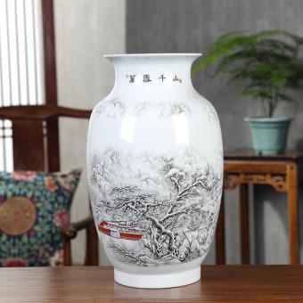 Jingde Town Ceramic Porcelain Vase Ornaments Pastel Landscape Flower Is New Chinese Home Living Room TV