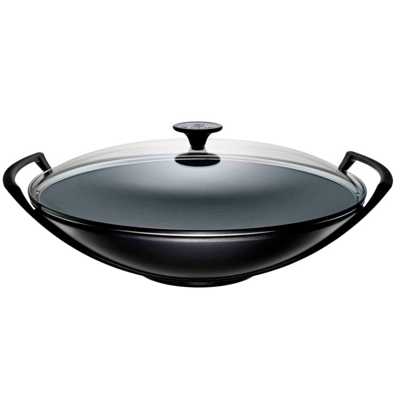 Le Creuset Cast Iron Wok with Glass Lid 36cm (Black) - Online Exclusive Singapore