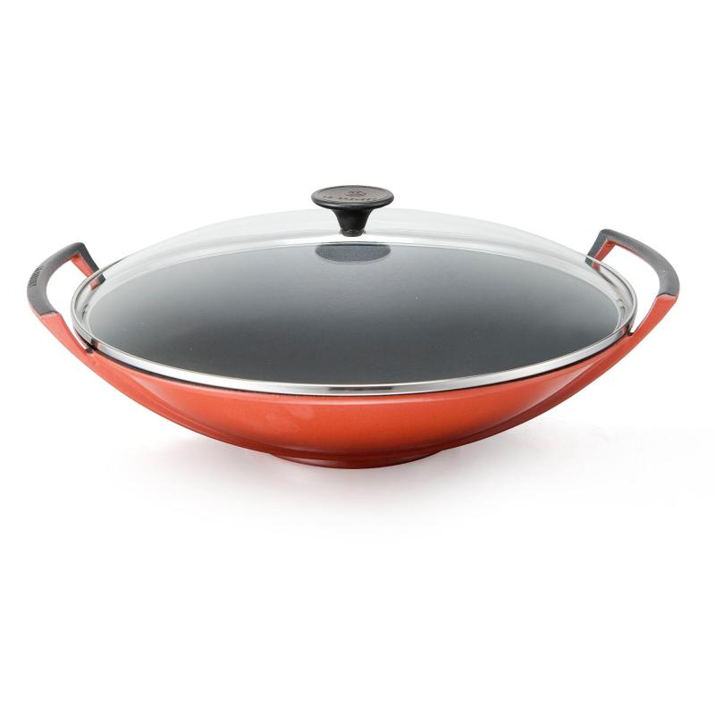 Le Creuset Cast Iron Wok with Glass Lid 36cm (Cherry Red) - Online Exclusive Singapore