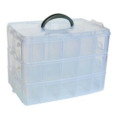Medium Transparent 3-Layer Storage Case (White)