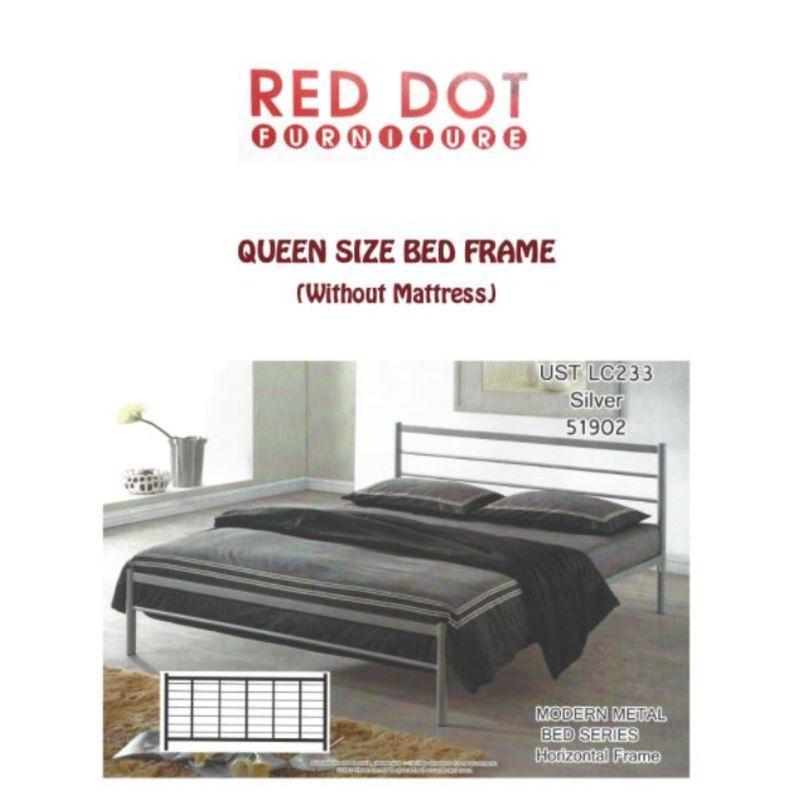 Metal Bed Frame Queen Size (Silver)