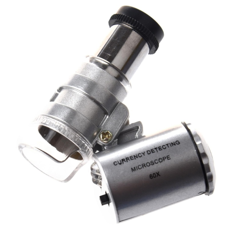 Mini 60x LED Pocket Microscope Jeweler Magnifier Adjustable Loupe - intl