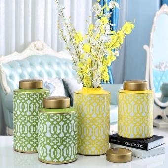 Model Room Ornaments Ceramic Vase Storage Tank Creative Home Living TV Cabinet Flower