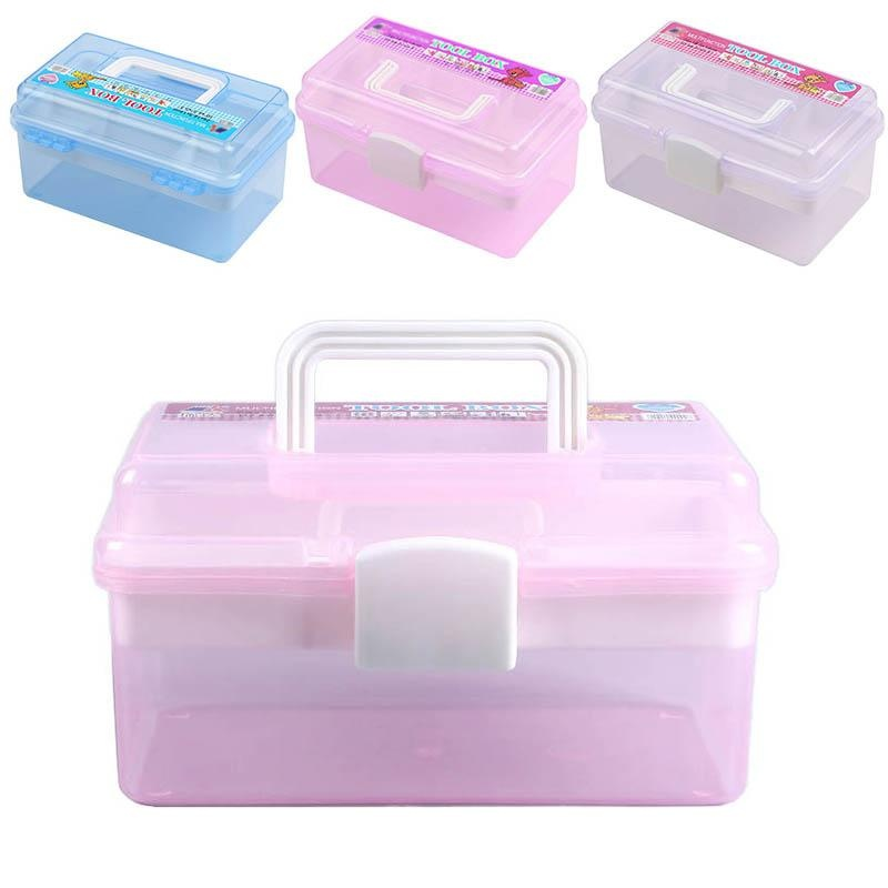 Multifunctional Nail Art Storage Box Transparent 2 Layers Plastic