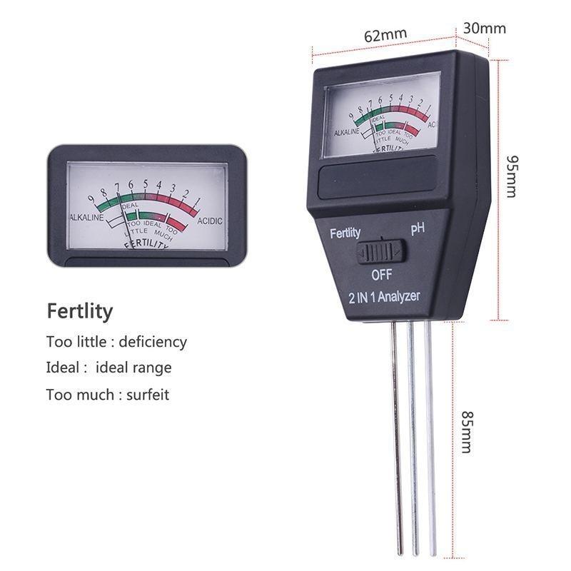 New 1pc Soil Analog Gardening Tools 2 in 1 Soil PH Meter Fertility Tester - intl