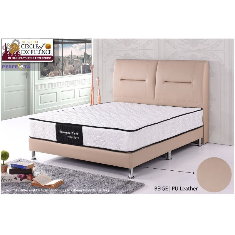 "New Bed set - Beige Bed frame and 10"" Spring mattress"