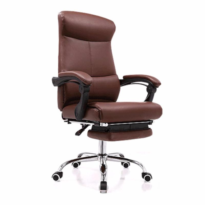 New PU Leather Recline Office Chair J86 with Legrest Brown-self-setup,Delivery-weekdays before 6pm Singapore