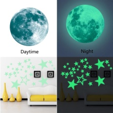 niceEshop Removable 30cm Moon Stars Glow In The Dark Sticker, Night Luminous Kids Room Wall Decal Stickers For Simulated Ideal Kids Decor Or Adults, Perfect Gift Kids Boys Girls, Green - intl