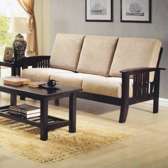 Nova 330 3-Seater Wooden Sofa with Cushions (FREE DELIVERY)
