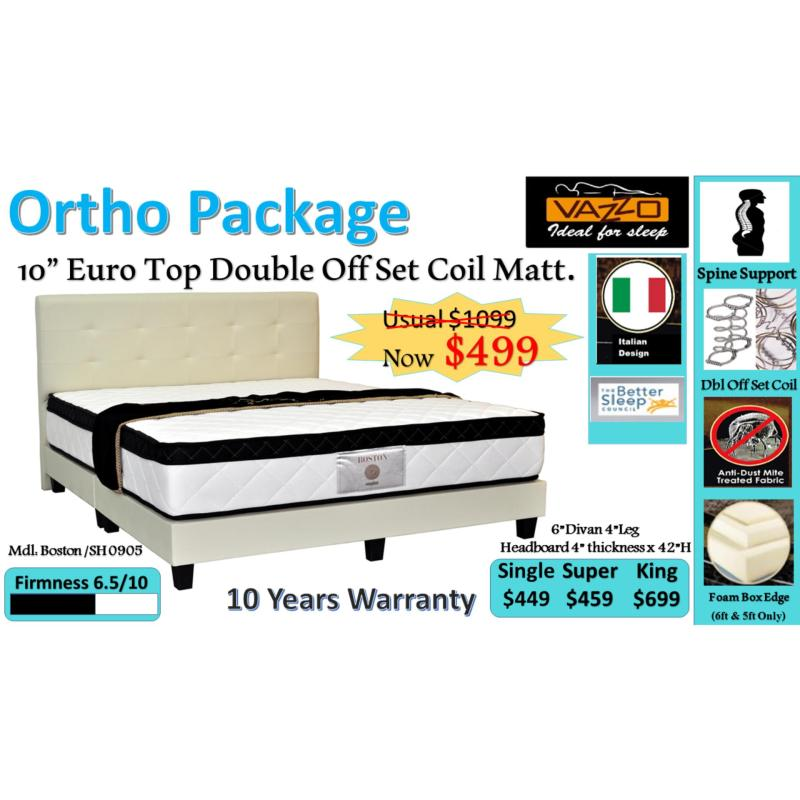 Otho Package: 10 Euro Top Double Offset Coil Mattress + Bed Frame (Black)