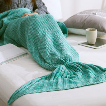 PAlight Handmade Knitted Mermaid Tail Blanket (Green L)