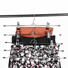 Pants Skirt Hangers Iron Plastic Metal Clips Clothes Trousers Hanger 10 Pcs Pack - intl