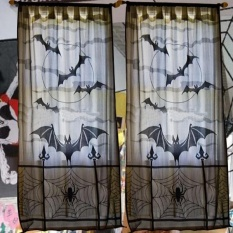 Perfectworld Practical High-quality Hot Sell Halloween Heritage Lace Bat Spider Web Curtains Room Door Window Decors Decals - intl