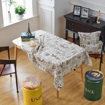 Po Shu English Coffee Color Newspaper Linen Tablecloth Fabric Coffee Table  Tablecloth Table Cloth Tablecloths Coffee