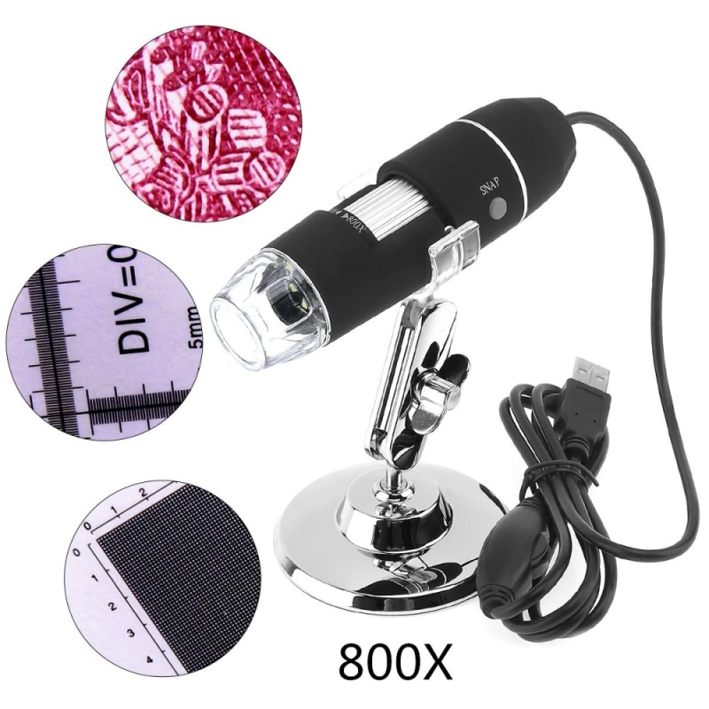 Portable 800x USB Adjustable Handheld Digital Microscope with Stand and 8 LED Light for Windows XP / 7 / 8 - intl