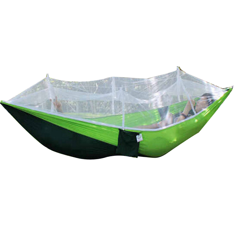 Portable Outdoor Hammock Mosquito Net Bed (Dark green+fruit green)